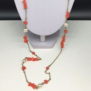 J CREW Faux Coral Faux Pearl Beaded Necklace JCREW